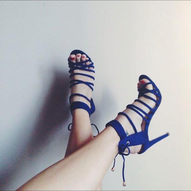 Blue Suede Sandal Heels
