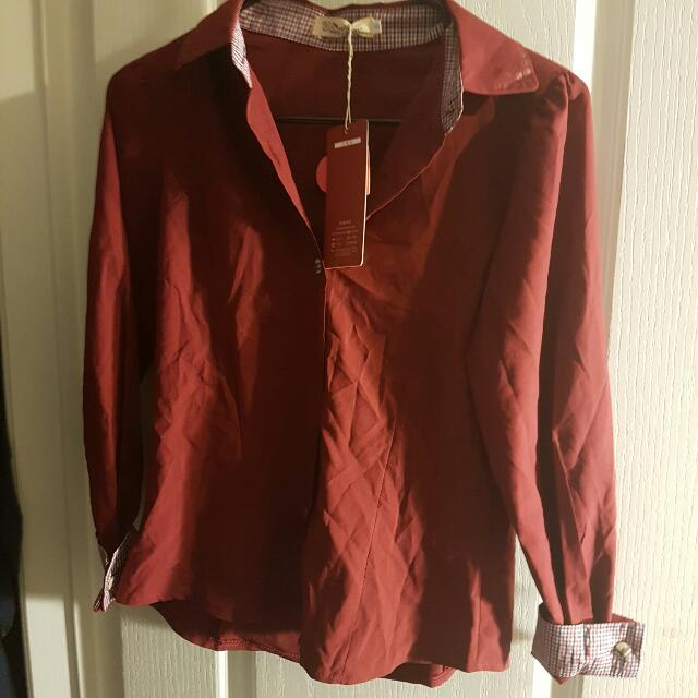 BNWT Red Collared Shirt