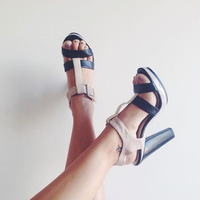Calvin Klein Beige/Black Leather Sandal Heels