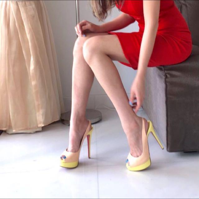 pretty nice f31d7 75ccf Christian Louboutin Lady Peep Slingbacks, Women's Fashion ...