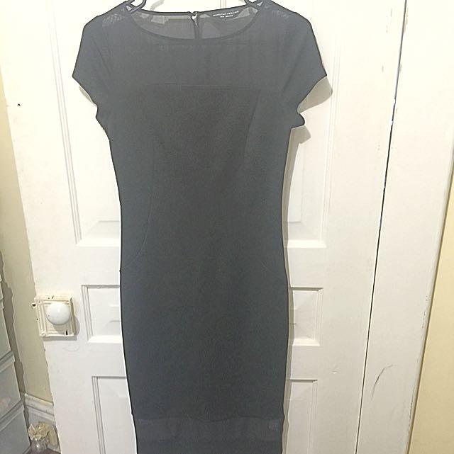 Dorothy Perkins Black Midi Dress With Sheer Panels