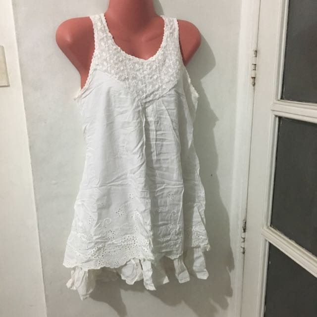 Dress: White Embroidered By Sweat Girl