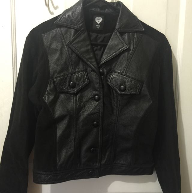 European Leather And Suede Jacket Button Down Hipster Vintage