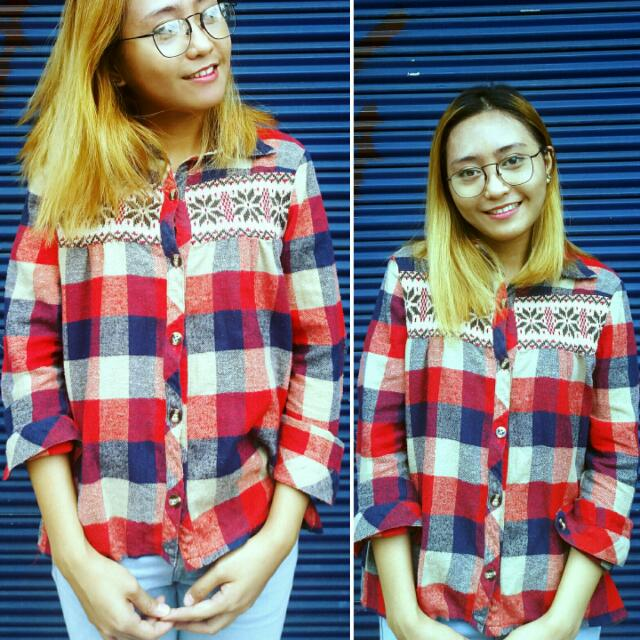 Flannel Top Checkered Red