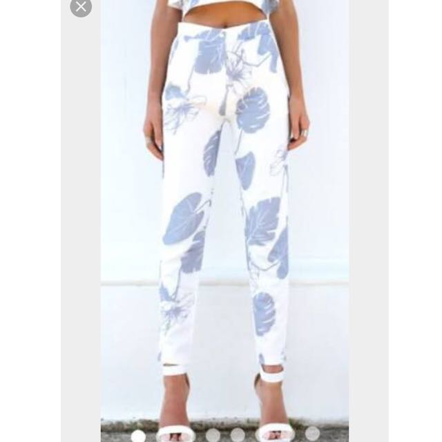 High Waisted White Floral Print Pants