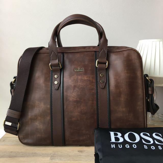 Hugo Boss Men s Leather Briefcase Shoulder Bag a828550f27d54