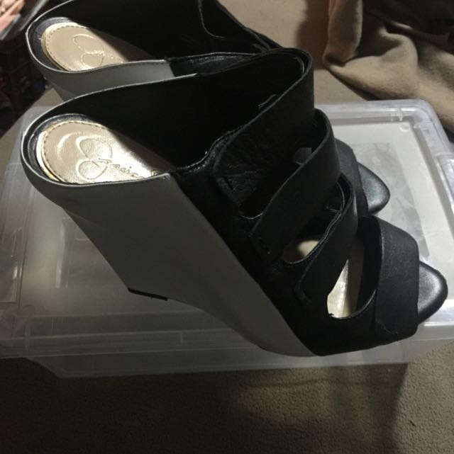 Jessica Simpson Wedge Mules Black And White