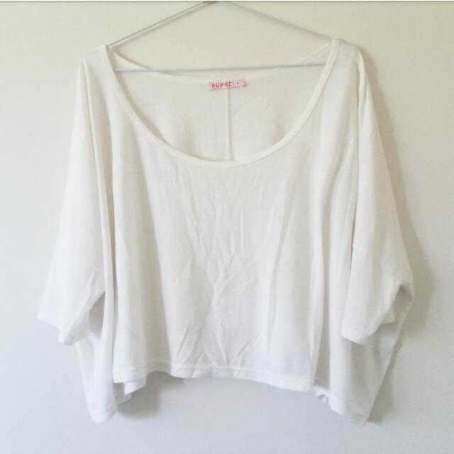 Oversized White Crop