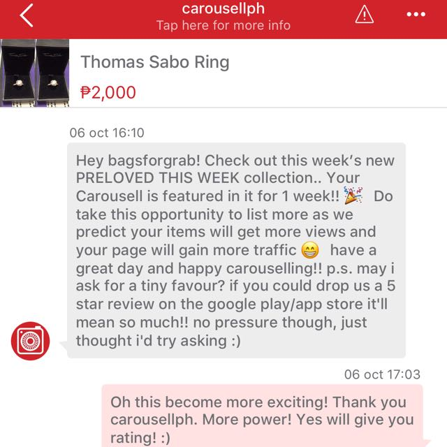 Thank You Carousell. Esp. mention To Ms. Ela