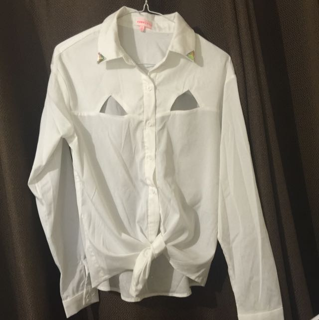White Button Down Blouse With Jewelled Collar And Cut Out