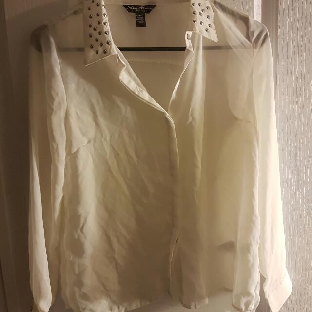 White Collared Shirt Size Small