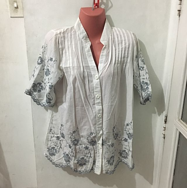 White Polo With Embroider & Bead Work