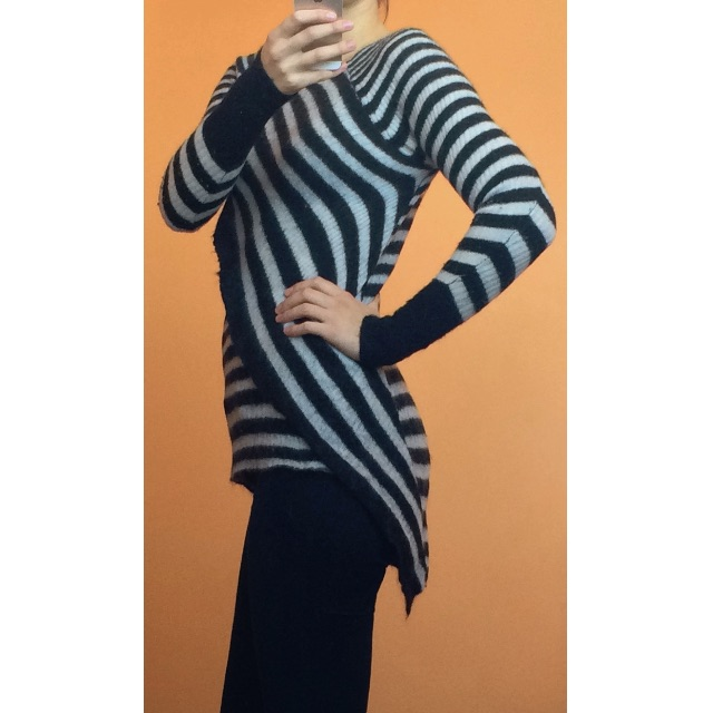 Willow black and white striped assymmetrical knit