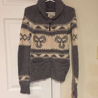 Grey And White TNA Knit Sweater