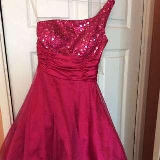Short Pink One Shoulder Party Dress