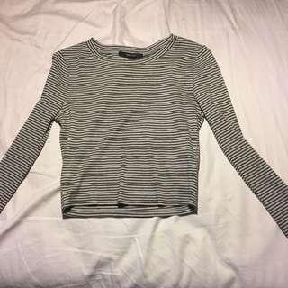 Long Sleeved Striped Crop Top