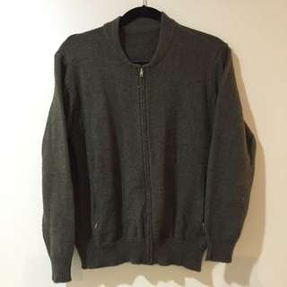 Brandy Melville Green Knit Bomber Jacket