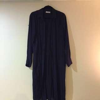 Long Zara Navy Blouse - Split Back
