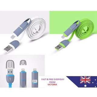 2 IN 1 USB Charger Sync Data Cable Flat Cord Dual-Use For Android iPhone 6 5 WS