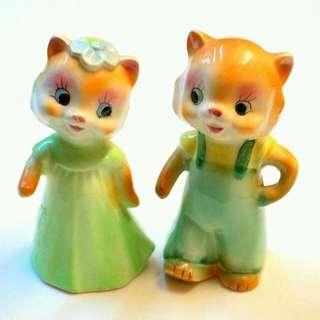 古董花栗鼠(?)夫妻陶瓷胡椒鹽罐