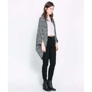 Zara Wraparound Cardigan in Ecru (Black/White)