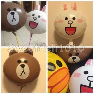 [現貨]18寸Line熊大兔兔莎莉鋁氣球