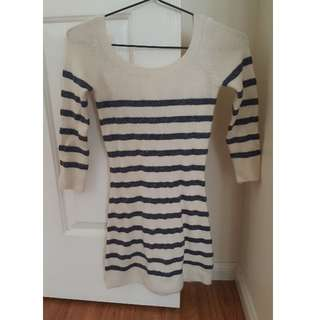 BRAND NEW Silence + Noise Bodycon Dress Cream and Navy Stripes