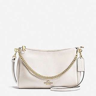 coach pebbled leather crossbody white (100% Authentic)