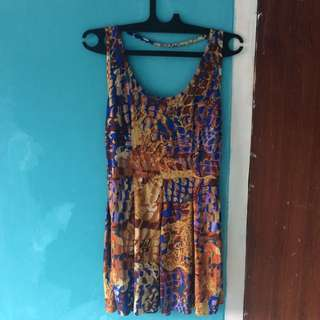 Backless Dress Printed