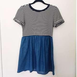 Striped / Denim Skater Dress