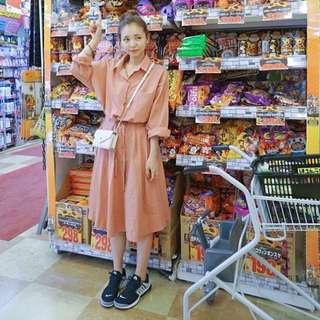 lynn in jp 橘色鮭魚粉襯衫縮腰洋裝 長版 kimy著用 韓貨日貨