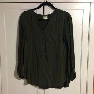 Green Long Sleeve Flowy Shirt