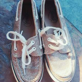 Casual Gold Glitter Lace Up Boat Shoes Flats Size 6