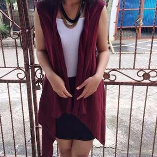 SALE! 1 Set // Maroon Outer + White Inner + Black Skirt