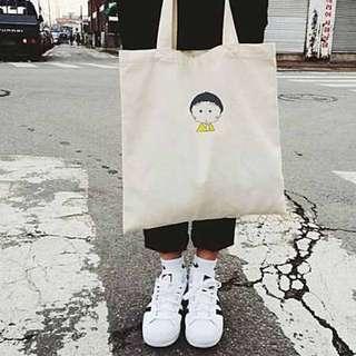 三色可選:小丸子環保袋購物袋帆布袋單肩包