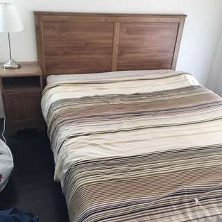 Queen Bed And Mattress And 2 Matching Side Tables