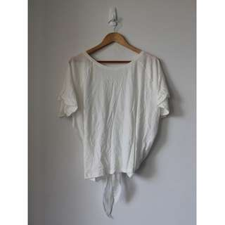 MNG white cotton & chiffon shirt