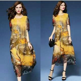 WST 14966 Yellow Oriental Print Dress