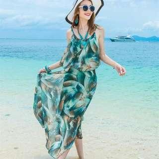 HQ 14917 Green Strap Summer Long Dress