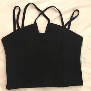 Black Cropped Top Night Wear