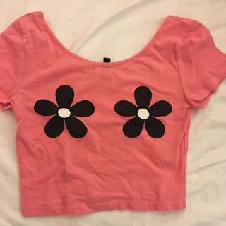 Pink Flowery Cropped Top