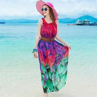 HQ 14905 Summer Belted Long Dress