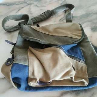 Cotton Canvas Bag With Leather Trims. 2 Ways To Carry - Messenger Or Back Pack.
