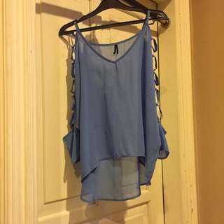 Blue Long Sleeve Top With Cut-outs