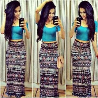HQ 14940 Blue SET Top+Skirt