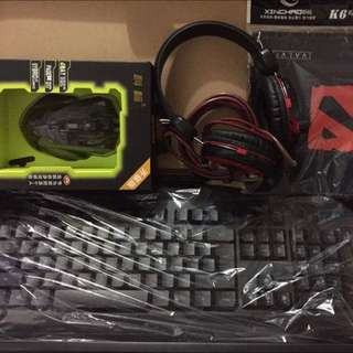 Gaming Set (Illuminated Mouse And Keyboard With Headset)