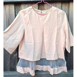 Top / Blouse - Pale pink/White (2 pcs)