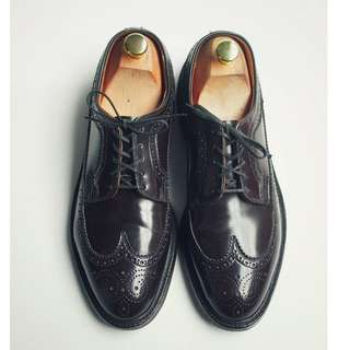 80s 美製雕花翼紋布呂歇爾皮鞋 SEARS Dupont Corfam Wingtip US 7.5D Eur 40