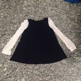 (PRELOVED) Navy Blouse with White Sheer Sleeves - Free Size