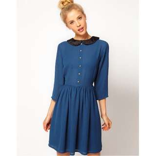 BNWT ASOS Navy Dress with Velvet Collar - UK16